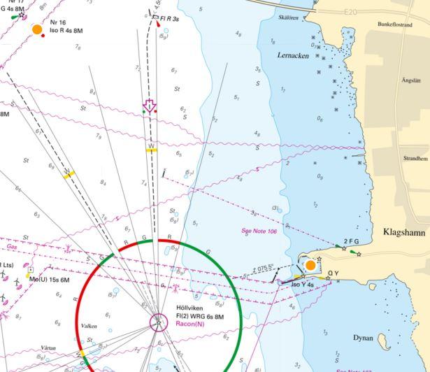 Sjökort som visar mätstationer.
